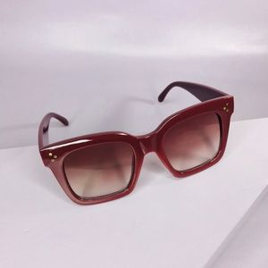 🆑 Square Frame Sunglasses in Wine Red